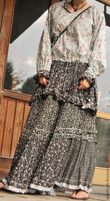 Купить ОДЕЖДА ДЛЯ СВОБОДНЫХ НАТУР - голубой, черный, в мелкий цветочек костюм, рубашка и юбка