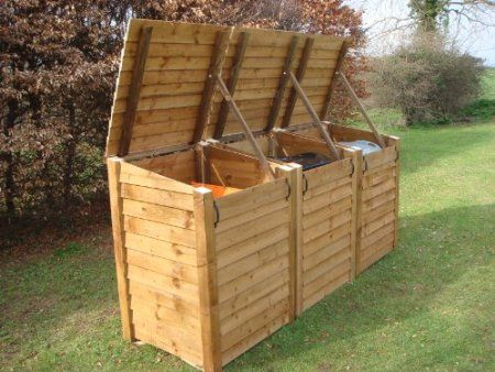 OUTDOOR TRIPLE WHEELIE BIN STORAGE UNIT, HEAVY DUTY, PRESSURE TREATED TO LAST 15 YEARS!: Amazon.co.uk: Garden & Outdoors