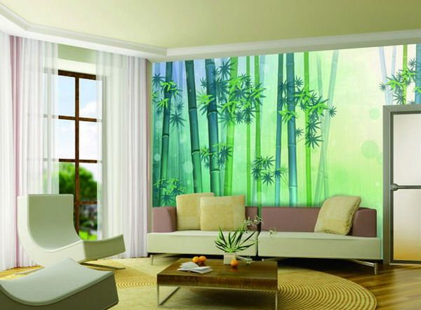 beautiful green bamboo tree wall murals stickers for modern living room art decorating designs ideas redecorating house interior with modern wall murals - Wall Mural Designs Ideas