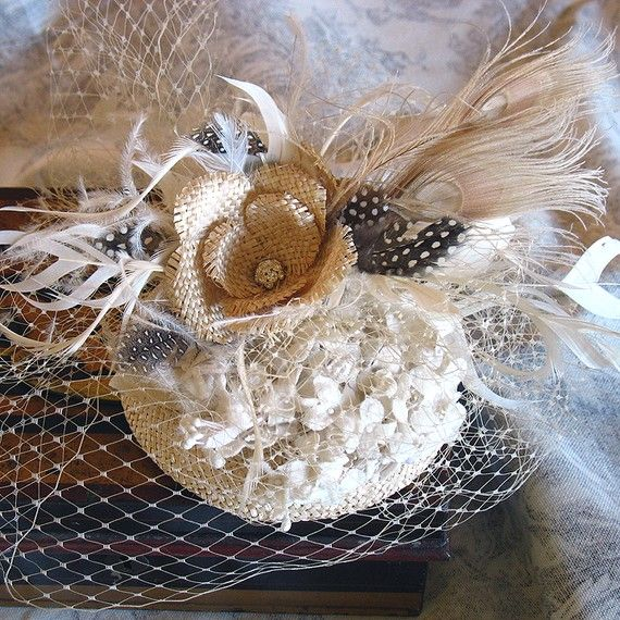 Oatmeal straw cocktail hat by alicehartcouture on Etsy, $165.00 https://www.etsy.com/listing/52117589/oatmeal-straw-cocktail-hat?ref=v1_other_2