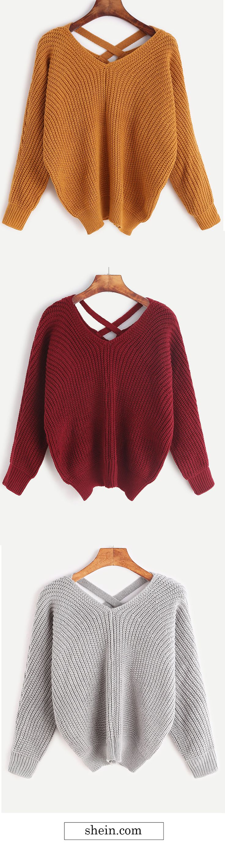 V neck criss cross back sweater collect.