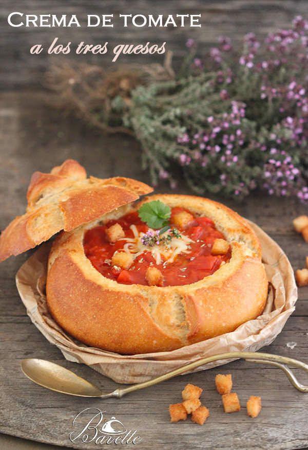 Crema de tomate y pimentón a los tres quesos   Bavette