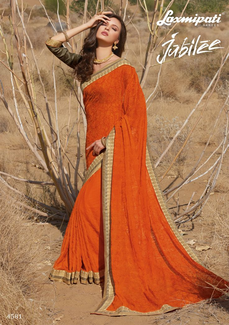 Browse the orange #chiffon #embroidery #diamonds work #saree and green olive rawsilk blouse along with #bhagalpuri lace border online by #Laxmipatisarees.  Catalogue- Jubilee Designnumber: 4581, Price: ₹ 3158.00  #Jubilee0417 #Laxmipatisarees #Happy #RamNavami