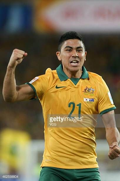 Massimo Luongo of Australia celebrates a score during the 2015 Asian Cup final match between Korea Republic and the Australian Socceroos at ANZ...