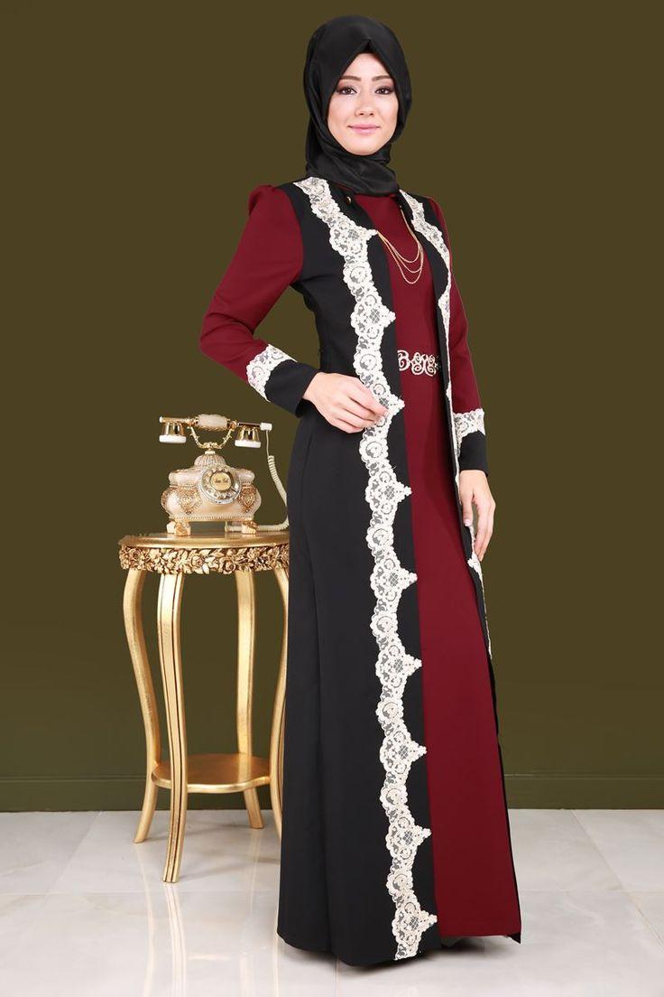 Dantelli Tesettür Abiye Siyah&Bordo Ürün Kodu: YGS6017 --> 179.90 TL