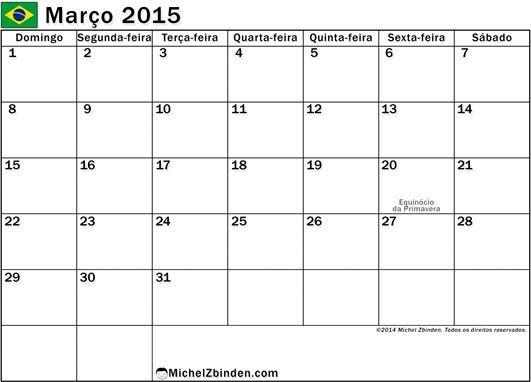 Impressão livre do calendário março 2015 Férias em Brasil (dias-feriados-brasil-d)