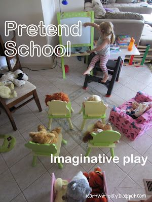Idea:  Turn play room into small school room for dolls and stuffed friends