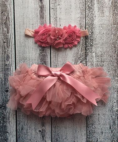 Look at this #zulilyfind! Rose Tutu Diaper Cover & Chiffon Shabby Headband - Infant #zulilyfinds