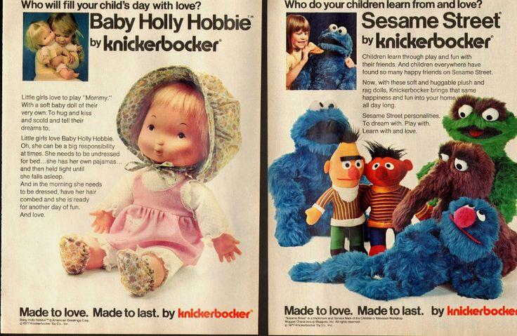 1977 Knickerbocker Toys~Bert/Ernie/Cookie Monster Print Ad/Baby Holly Hobbie