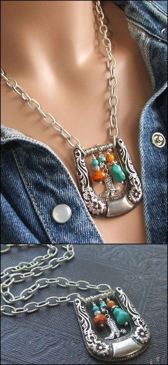 Re-purpose a Belt Buckle into a Treasure Necklace! Add Chain to sides of buckle with a couple of Jump Rings.... thread Beads and Charms of choice with fine wire and wrap around inner post of buckle. Instead of Chain, a strip of leather, thick ribbon etc can be used... just tie them on and then continue with Beads and Charms.