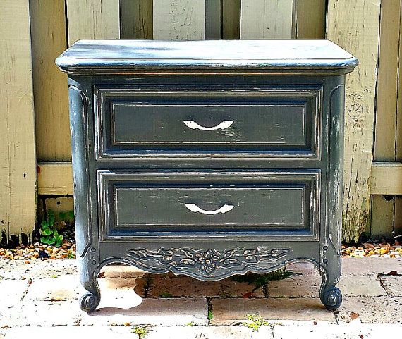 Exceptional #NightstandVintage (circa 1980s), Country Cottage Style Nightstand Dark  Gray, Hand Painted