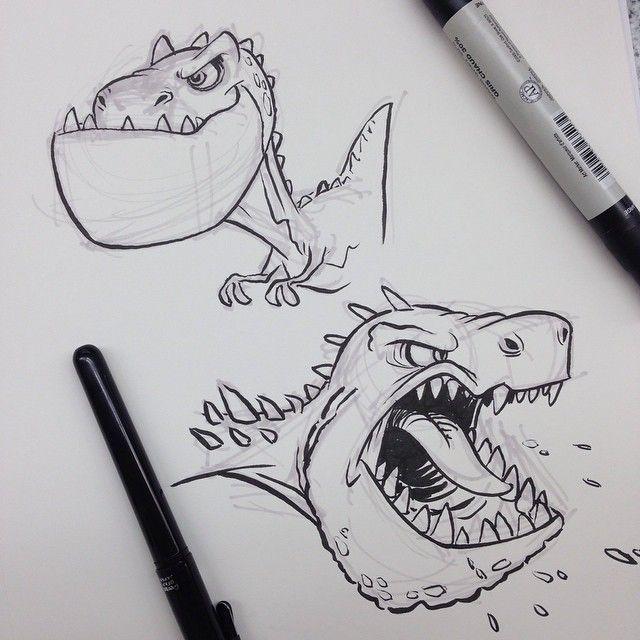 #tyrannosaurusrex #dinosaur #dino #cartoon #breaksketch #brushpen