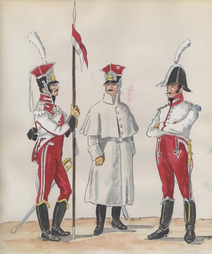 Naples; Garde Royale, Chevau-Legers Regiment, Chevau-Leger, Grande Tenue, Chevau-Leger in Manteau & Lieutenant, Tenue de Ville 1808-09 by H.Boisselier