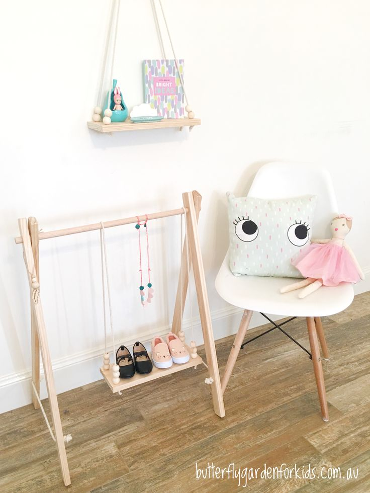Our wooden accessory racks, clothing racks & swing shelves are available in lots of colour/style/size options https://butterflygardenforkids.com.au/collections/wooden-clothing-accessory-racks
