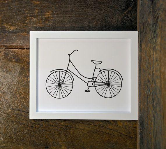 BICYCLE print, black & white, city, modern print, bike, digital print…