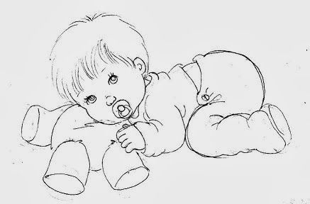 desenho de bebe menino deitado sobre ursinho de pelucia