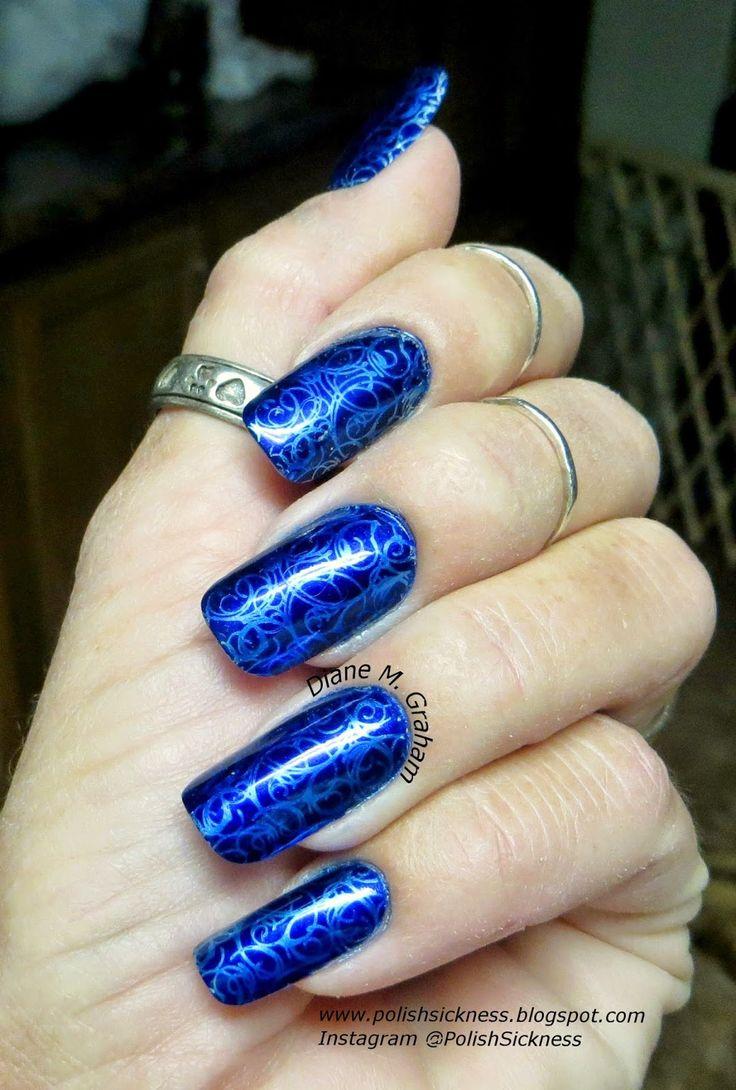 Kleancolor Metallic Sapphire, Essie No Place Like Chrome, DRK-D stamp