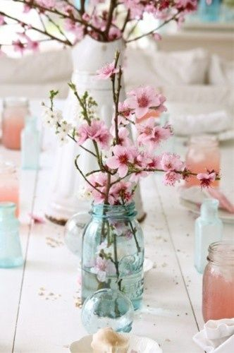 pretty spring flowers: Blue Mason Jars, Cherries Blossoms, Pink Flower, Ball Jars, Ideas, Centerpieces, Spring, Tables Decor, Cherry Blossoms