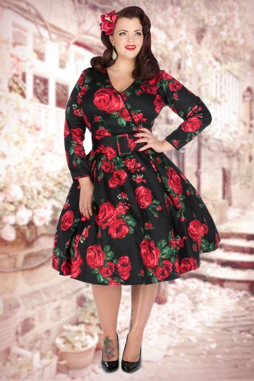 Lady Voluptuous by Lady Vintage - 50s Cosette Red Rose Dress in Black