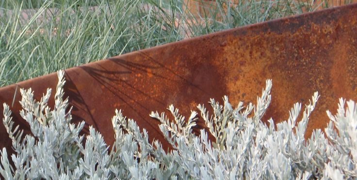 Coastal garden. Mild steel feature against grey/ blue tones. www.jamesrosslandscape.com.au