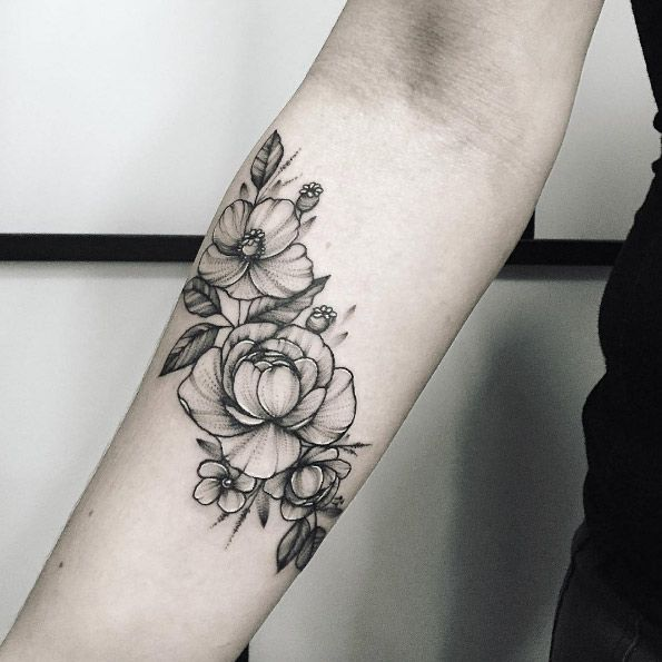 Black and grey ink peonies by Anna Bravo
