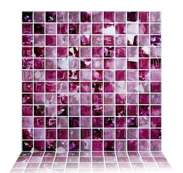 "Cocotik Peel and Stick Tile Purple 3D Kitchen Backsplash Tile 10""x10"", Pack of 6 - - Amazon.com"