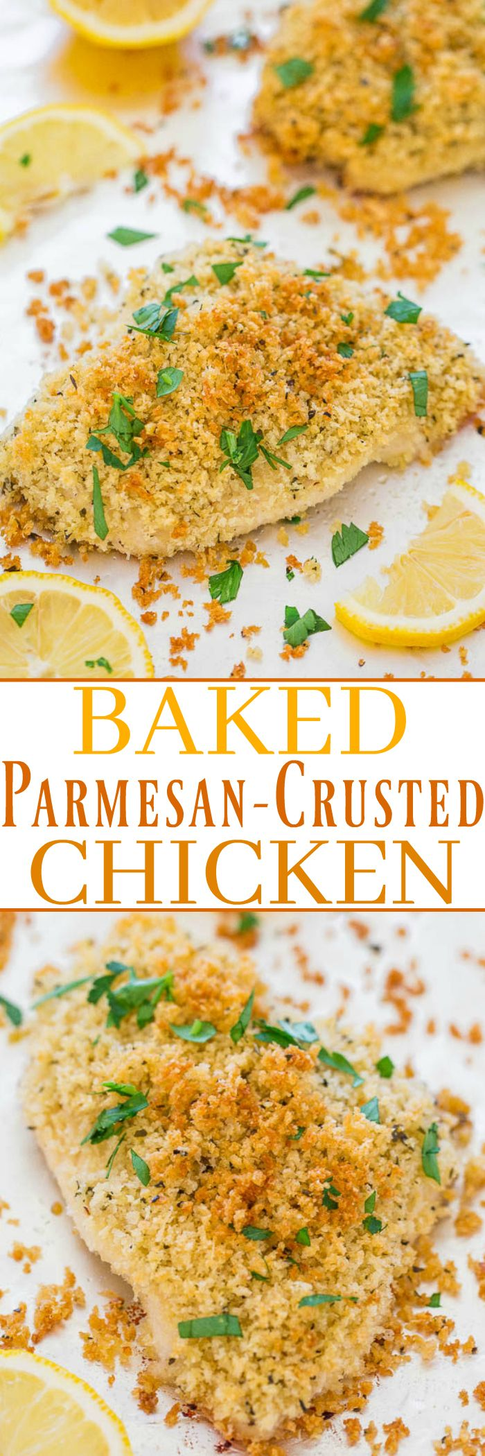 Baked Parmesan-Crusted Chicken - You'd swear this chicken was fried but it's baked!! The interior is so tender, juicy, and moist while the exterior is EXTRA CRISPY!! Easy, ready in 25 minutes, and SO GOOD!!