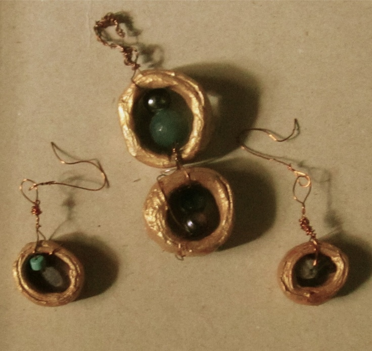 recycled gloden earrings