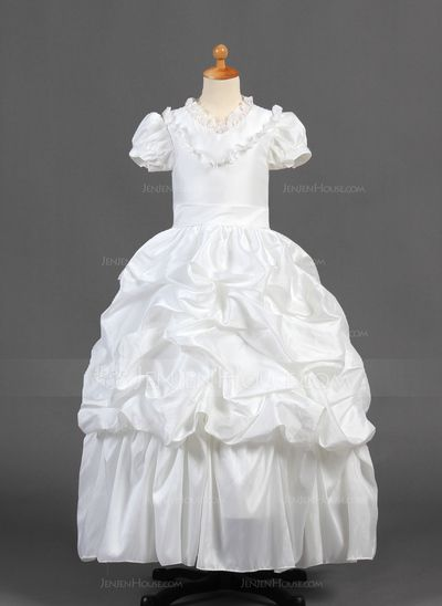 V-neck Floor-Length Taffeta Flower Girl Dress With Ruffle Lace (010015770) http://jenjenhouse.com/A-Line-Princess-V-Neck-Floor-Length-Taffeta-Flower-Girl-Dress-With-Ruffle-Lace-010015770-g15770?pos=related_products_3