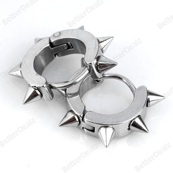 Hoop Spike Stud Mens Earring 0.9mm Pin Stainless Steel Cool