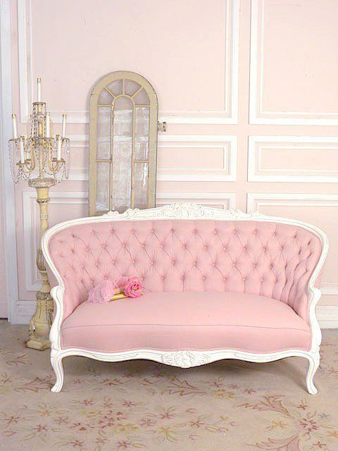 what girl doesn't love a pink sofa?    #girly #furniture #decor #pink