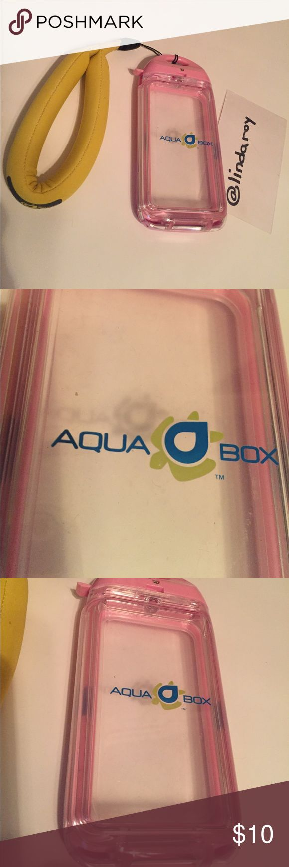 Aqua Box Waterproof Smartphone Case with Hane Aqua Box Smartphone Waterproof Case with foam handle.   This is perfect for diving and snorkeling.  Hard outer shell for shock absorption. Fully interactive transparent silicone membrane allows full texting capabilities, make and take phone calls, listen to music, take photos/videos & use your favorite app.  Floating capability with removable foam handle.  Twist & lock access.  Used once in excellent used condition.  No signs of wear.  Please…