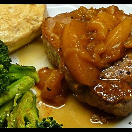 Pork Chops with Bourbon Peach Glaze