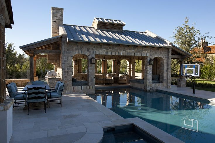 pool cabana and lounge area