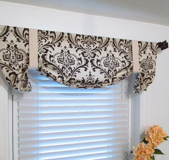 Natural Brown Damask Tie Up Curtain Valance By Supplierofdreams, $49.00