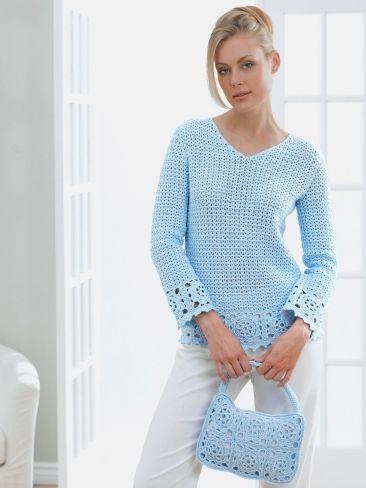 Lacy Tunic and Purse | Yarn | Free Knitting Patterns | Crochet Patterns | Yarnspirations