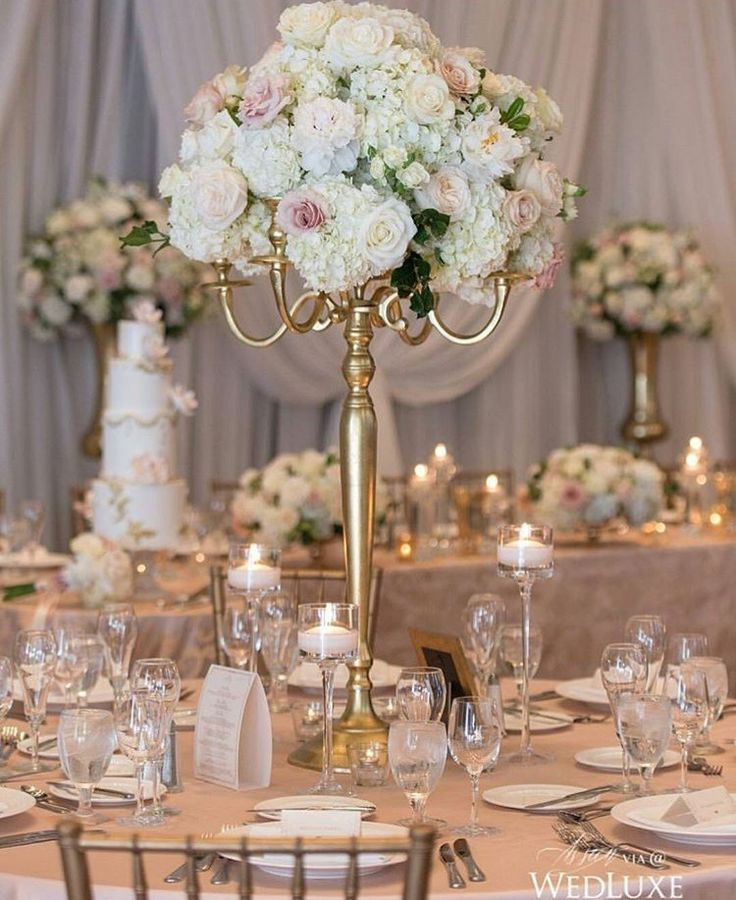 Rose and hydrangea blush and ivory wedding centerpiece, topiary, gold candelabra