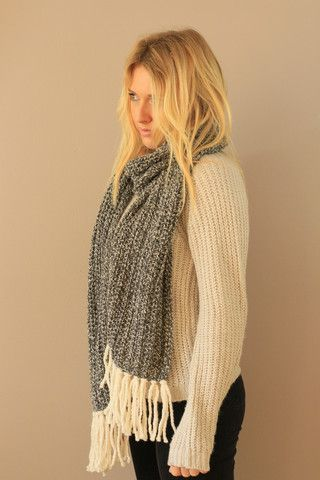 Long Wool Fringe Striped Scarf Handmade Miyuki Crochet Montreal