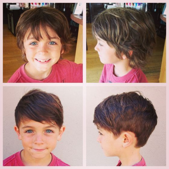 cute boy's haircut with long on top. Wonder if it would work with Stalter's wavy hair?