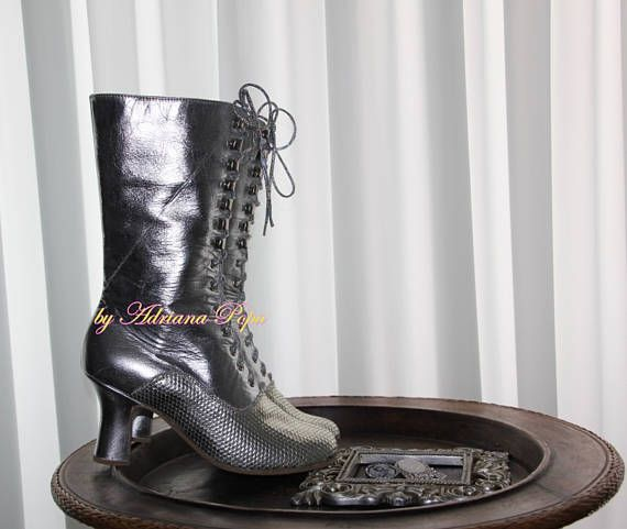 Victorian Boots  Tinfoil Boots  Granny Booties  Silver
