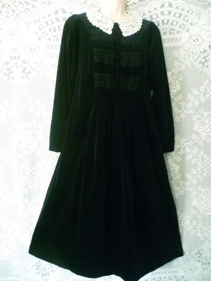 VINTAGE  LAURA ASHLEY 1982 BLACK VELVET BEAUTY SMOCKED LACE COLLAR DRESS, 10  #LauraAshley