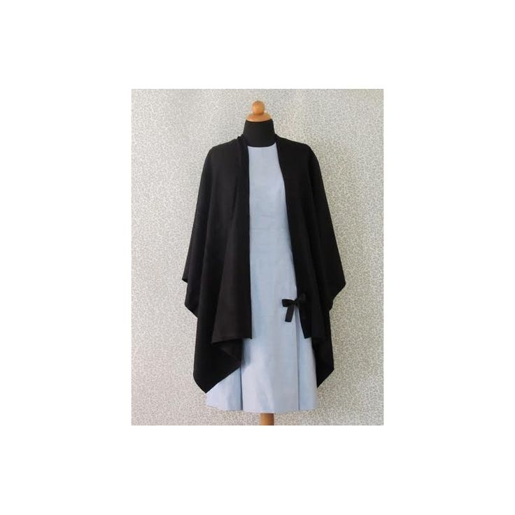 Women's Knitted Cape - Plain Color Black - 100% Acrylic - One Size