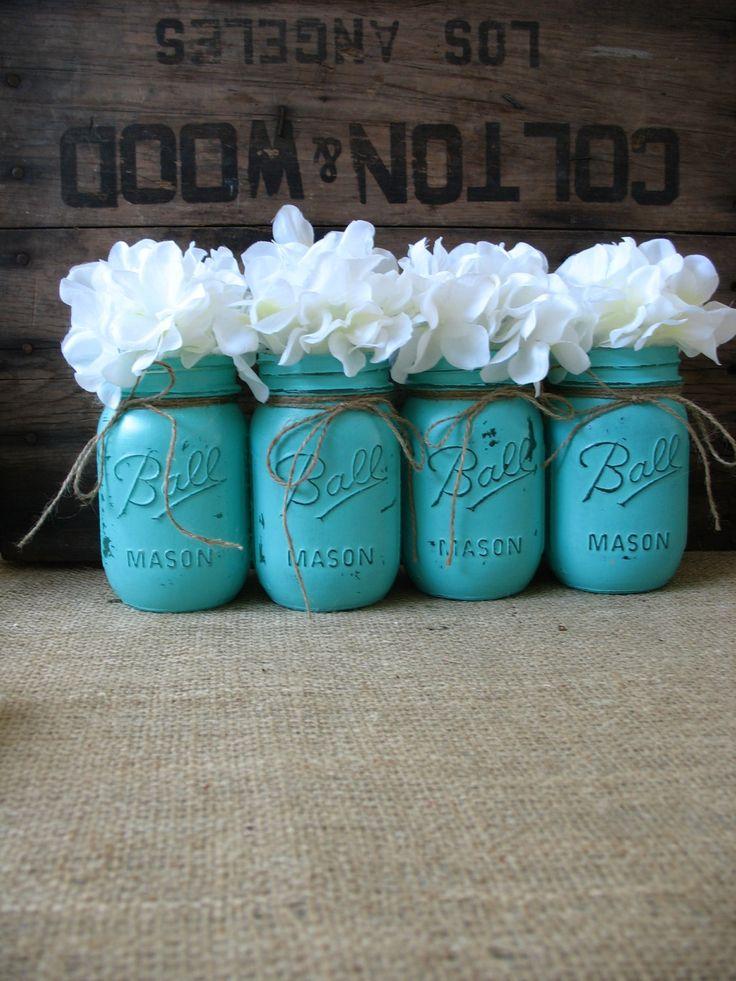 SALE! Set of 4 Pint Mason Jars, Painted Mason Jars, Rustic Wedding Centerpieces, Party Decorations, Turquoise Wedding by TheShabbyChicWedding on Etsy
