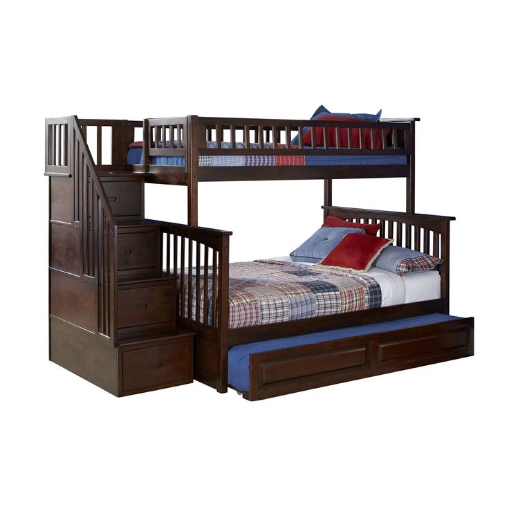 Atlantic Furniture AB55 Columbia Staircase Bunk Bed with Trundle at ATG Stores