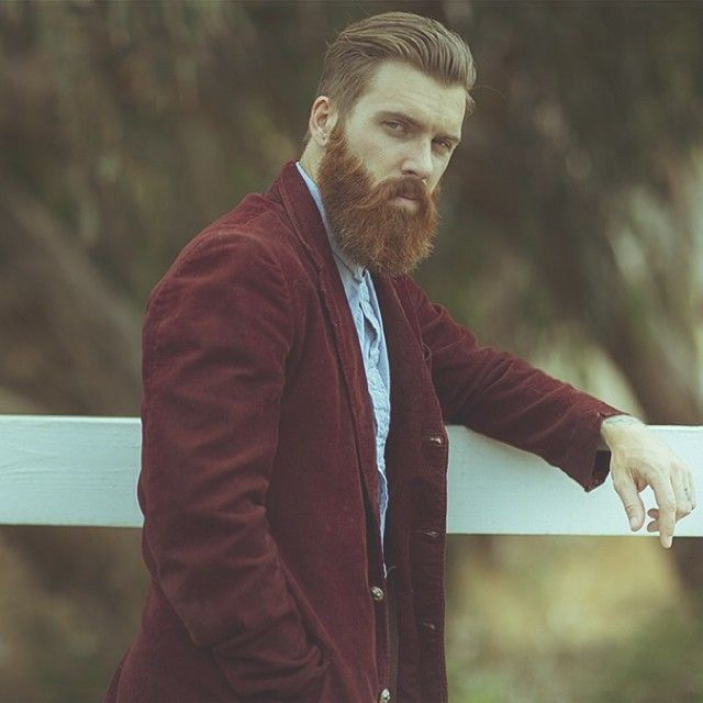 Levi Stocke all dressed up - full thick red beard and mustache beards bearded man men mens' style model fashion clothes clothing suit jacket redhead ginger bearding handsome #beardsforever