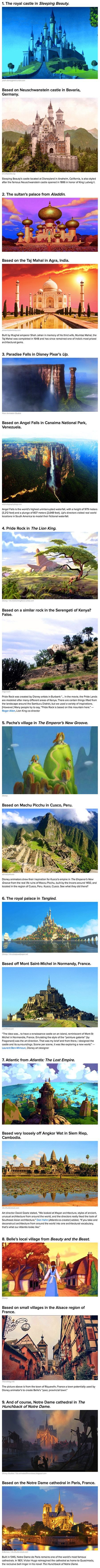 Here are some real-life locations that inspired objects in famous Disney films.