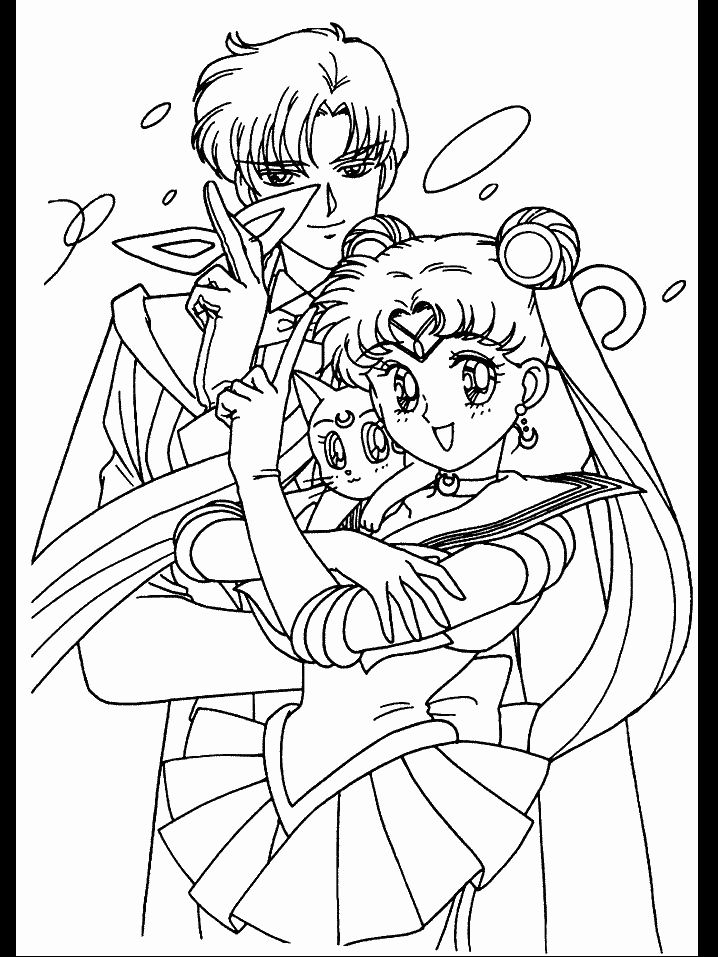 sailor moon luna and tuxedo mask coloring pages for kids printable sailor moon coloring pages for kids - Sailor Moon Coloring Pages
