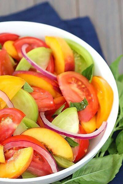 Tomato, Peach, and Basil Salad | Culinary | Pinterest