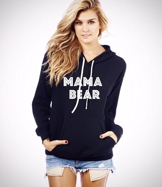 MAMA BEAR Hoodie Sweatshirt Style and comfort are the perfect words to describe this unbelievably cute hoodie. The light sweater knit gives it an