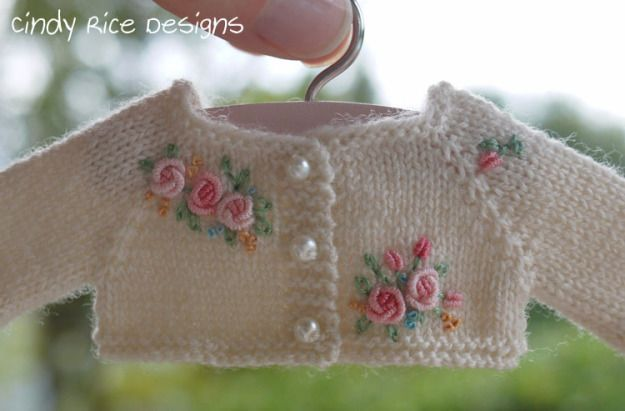 """""""Autumn's Pink Roses"""", a hand made ensemble for Kaye Wiggs 11"""" BJDs, cindyricedesigns.com . This is the hand knit and embroidered (bullion stitched roses) cardigan sweater."""